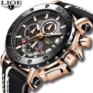 LIGE Sports Watch Black Rose Original