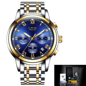 LIGE Watch Business Dress Chronograph Gold/Blue 42mm