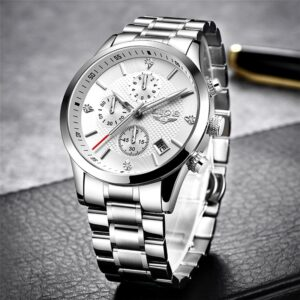 LIGE Watches Classic White Chronograph
