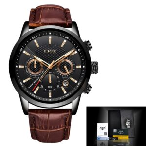 LIGE Watches Business Chronograph All Black with Original Box