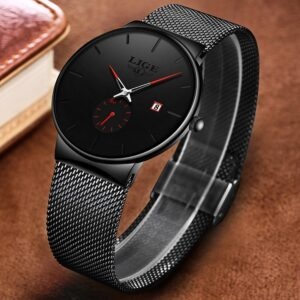 LIGE Watches Classic Mesh Black/Red 40mm