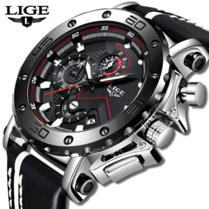 LIGE Sport Military Chronograph Silver/Black 47mm