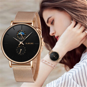 LIGE Ladies Watch Black Rose Gold