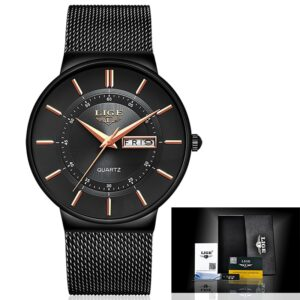 LIGE Watches Dress Mesh Classic Black/Gold 40mm